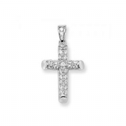 Sterling silver Cubic Zirconia tubular cross pendant 3.43g